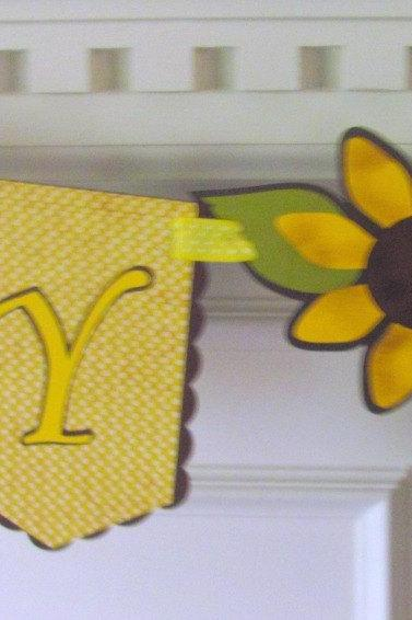 Sunflowers & Burlap Happy Birthday Banner Country Charm Birthday Banner
