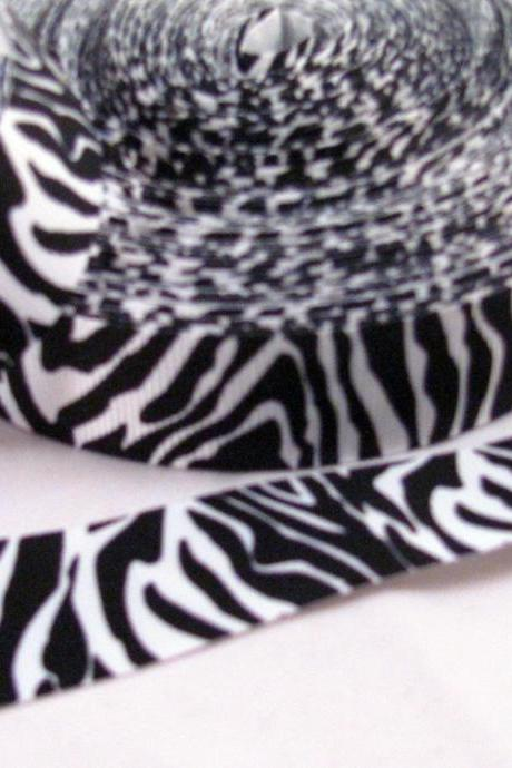 1 Yards 7/8' Zebra Print Ribbon in black & white