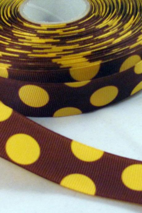 1 Yard of 1' Grosgrain Ribbon in brown with yellow dots