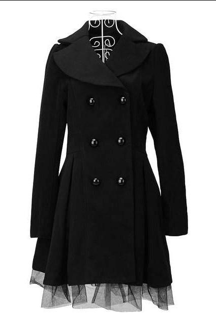 High Quality Fashion Wool Long Winter Dress Coat For Women - Black