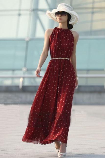 Lovely Polka Dot Print Chiffon High Waist Dress with Belt - Wine Red