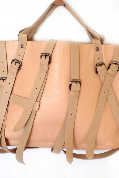 Beige Buckle Bag, Beige Belt Bag, beige leather tote, beige tote, leatherette tote, handbag, hobo, purse