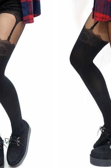 Jagged Mock Thigh High Suspender Tights / pantyhose