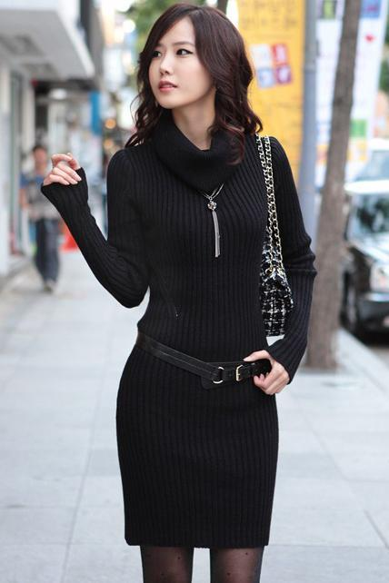 High Quality Long Sleeve Turtle Neck Sweater Dress - Black