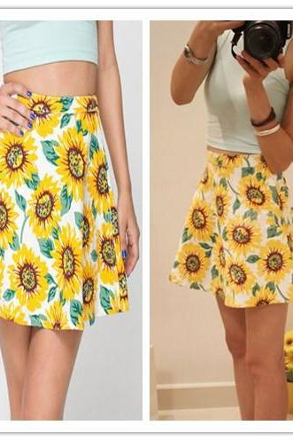 Yellow A Line Skater Sunflower Print Skirt