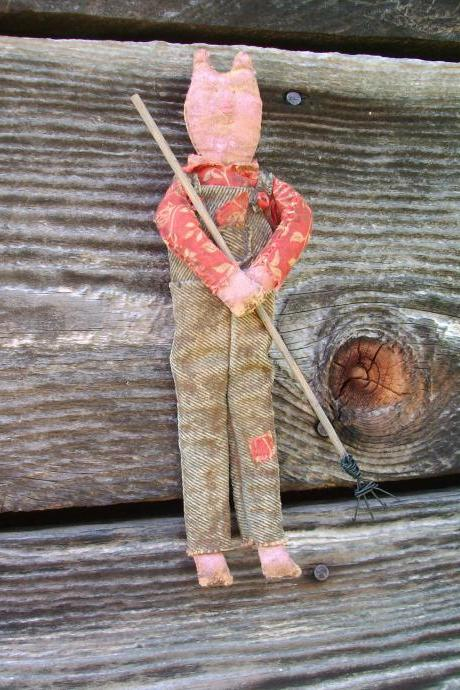 Primitive Farming Pig Doll - Blue Denim Overalls and Rake - For Country or Cabin Decor