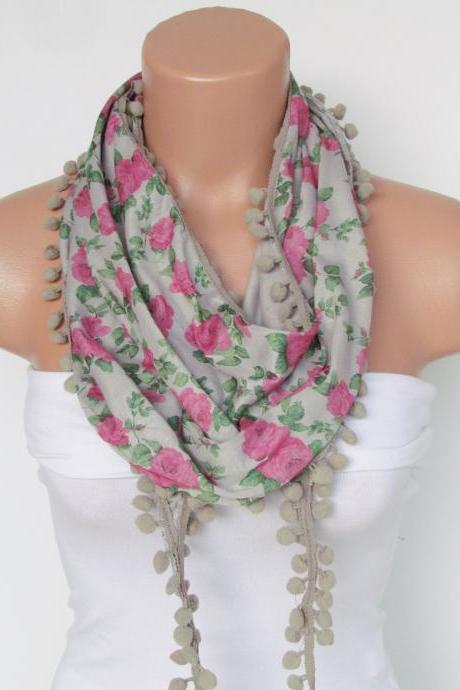 Pink Floral Pompon Scarf -Winter Fashion Scarf-Shawl Scarf-Headband-Necklace- Infinity Scarf- Winter Accessory-Long Scarf