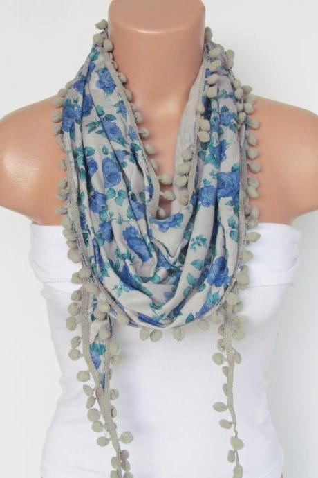 Blue Floral Pompon Scarf -Winter Fashion Scarf-Shawl Scarf-Headband-Necklace- Infinity Scarf- Winter Accessory-Long Scarf