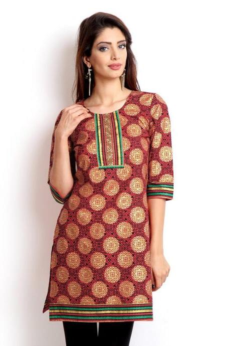 Women Red & Black Printed Kurta (Perfect Gift For Women) Super Fast Delivery : Your Daughter, GF And Wife Will Have Big Smile And Happiness