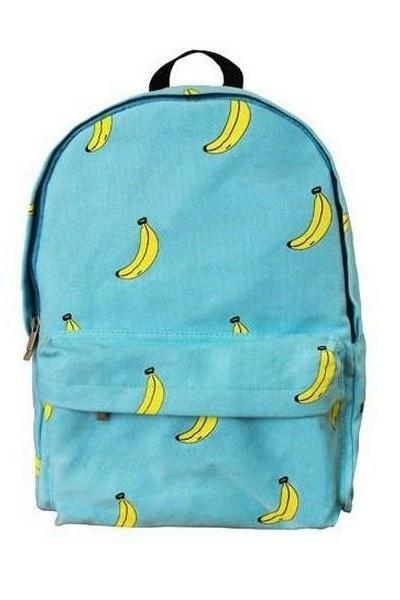 *free ship* Canvas Bananas Print Backpack