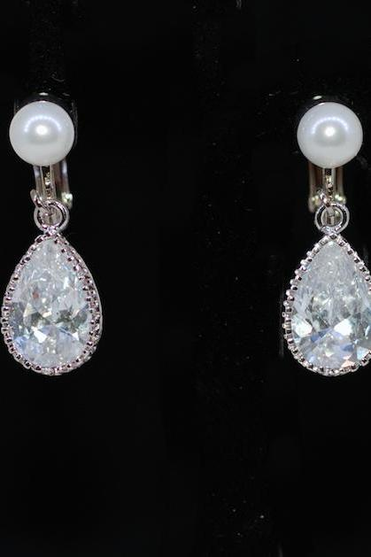 Wedding Earrings, Bridesmaid Earrings - White Pearl Screw Back Clip On Earring with Cubic Zirconia (CZ) Teardrop (E610)