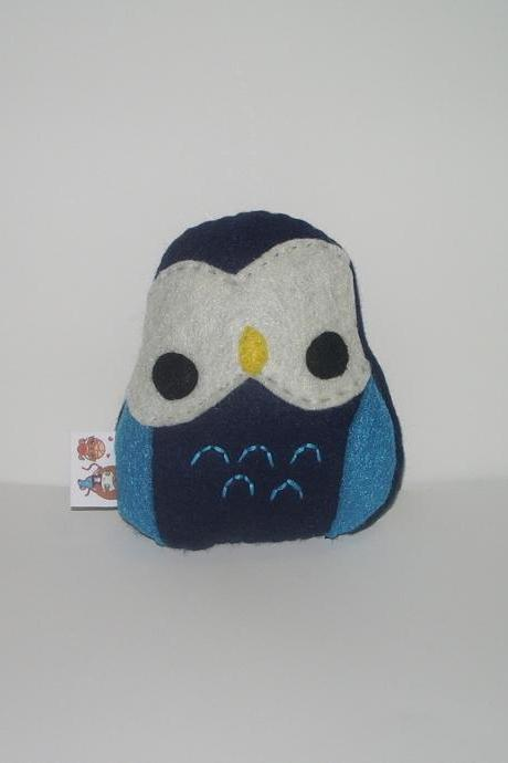 Kawaii Owl Plushie Navy and Turquoise