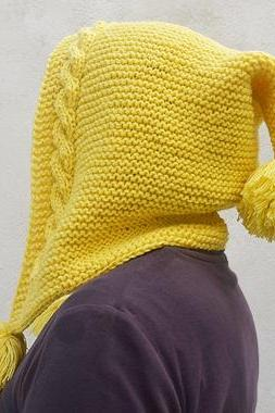 Pixie Hat in Yellow with Pom Pom, Gnome Hat, Hobbit Hat, Hippie Hat, Hood Hat, Cabel Hat, Oversized Knit Hat.