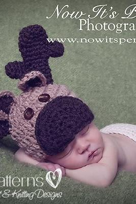 Crochet Hat Pattern Baby Moose Reindeer Hat PDF 238 Newborn to 12 Months 3 Sizes