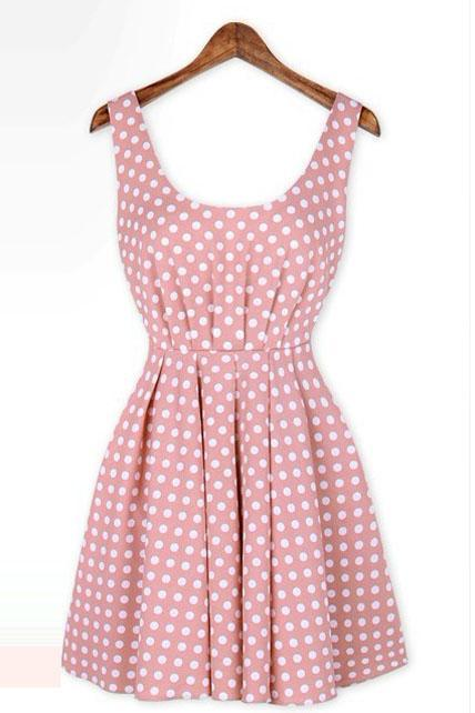 Vintage Polka Dot Pattern Scoop Shirred Waist Backless Dress - Pink