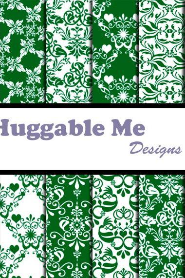 Green Damask Paper - Sage & White Damask Designs, Scrapbook Printables for Scrapbook, Wedding, Cards - HMD00088