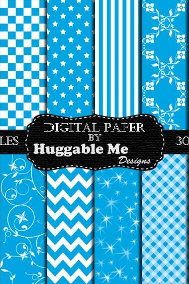 Blue Scrapbook Paper - Instant Download Blue Pattern Paper for Wedding, Scrapbook, Backgrounds, Cards 12x12 - HMD00089