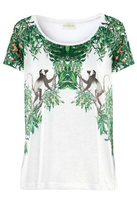*free ship* Scoop Neckline T-Shirt with Monkey Print