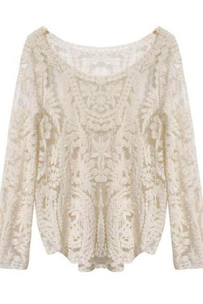 *free ship* Flower Lace Top