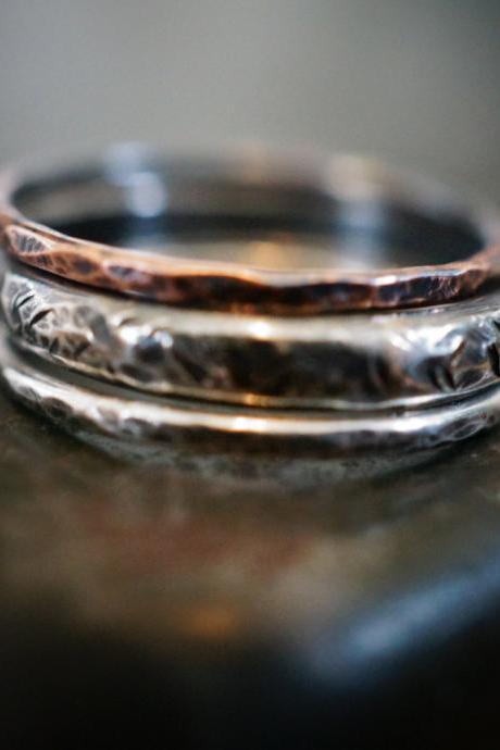 Stacking ring set, ring, knuckle ring, midi ring, copper ring, sterling silver ring
