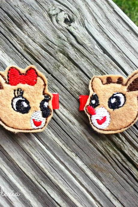 Rudolph & Clarice Reindeer Hair Clips (Set of 2)