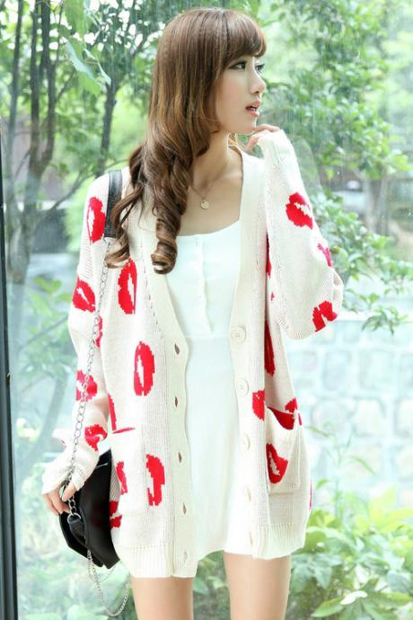 Casual V Neck Long Sleeve White Long Cardigan Sweater