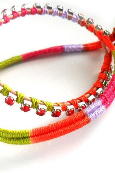 Double strand Friendship Bracelet red rhinestone chain cotton woven boho chic fashion neon spring 2012 trendy under 30