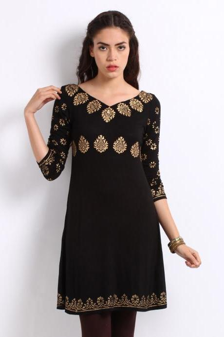 Women Black & Gold Printed Kurta (Perfect Gift For Women) Super Fast Delivery : Your Daughter, GF and Wife will have big Smile and Happiness