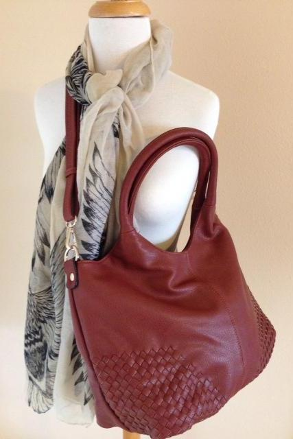 Vegan Woven Shoulder Bag with Removable Cross Body Strap