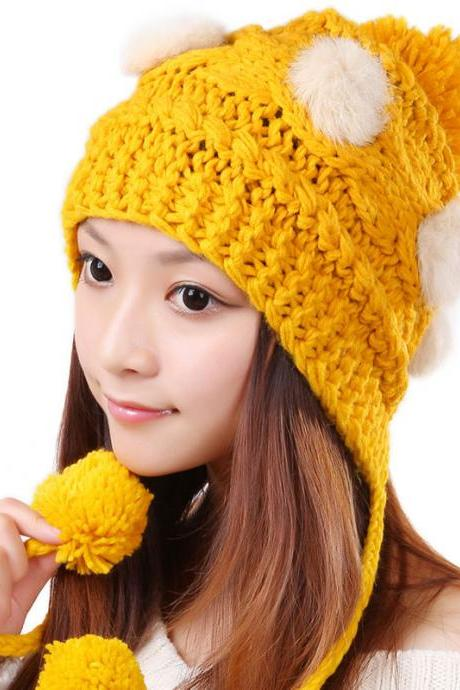 Free Shipping Cute Various Little Ball Knitted Bomber Hat For Girls - Yellow