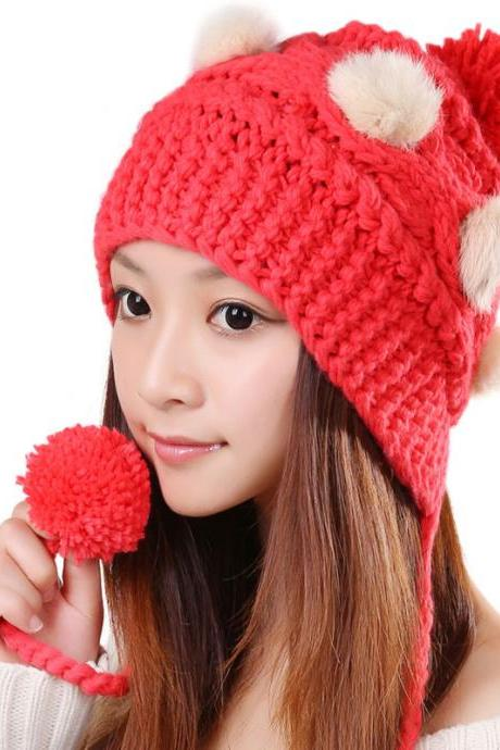 Free Shipping Cute Various Little Ball Knitted Bomber Hat For Girls - Watermelon Red