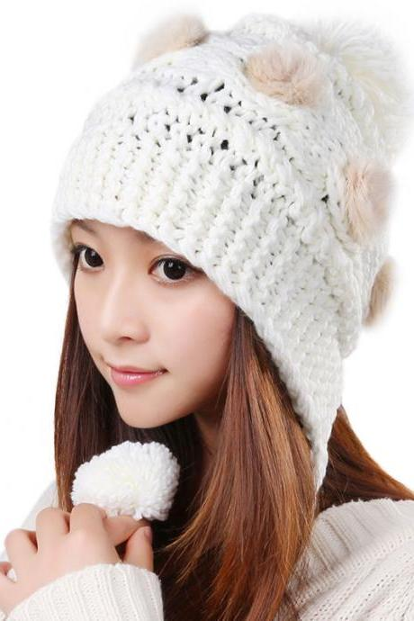 Free Shipping Cute Various Little Ball Knitted Bomber Hat For Girls - White