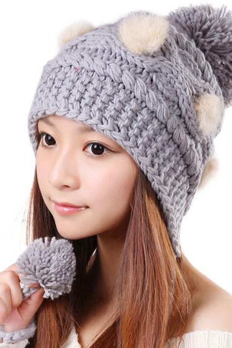 Free Shipping Cute Various Little Ball Knitted Bomber Hat For Girls - Grey