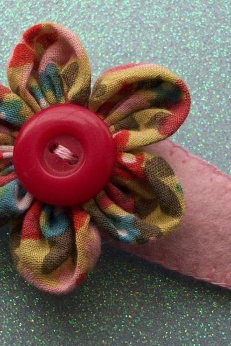 Hand Stitched Floral Hair Barrette