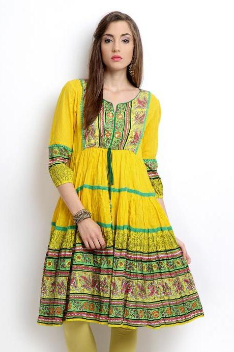 Women Yellow Printed Anarkali Kurta,(Perfect Gift For Women)Super Fast Delivery:Your Daughter, GF and Wife will have big Smile and Happiness