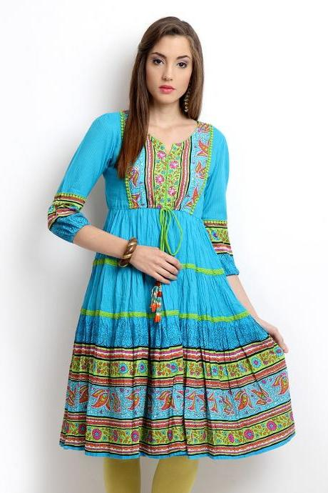 Women Blue Printed Anarkali Kurta,(Perfect Gift For Women)Super Fast Delivery:Your Daughter, GF and Wife will have big Smile and Happiness