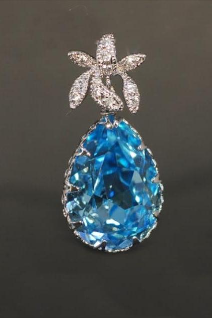 Wedding Jewelry, Pendant Necklace, Cubic Zirconia Detailed Orchid Pendant with Swarovski Aquamarine Teardrop (P013)