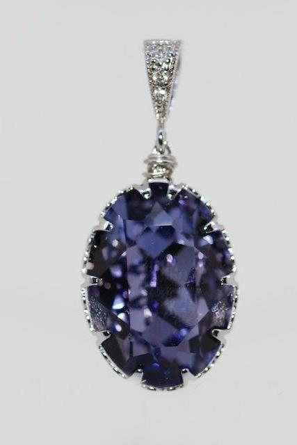 Cubic Zirconia Detailed Pendant with Swarovski Tanzanite (Purple) Oval Crystal - Wedding Jewelry, Bridesmaid Gift, Bridal Jewelery (P015)