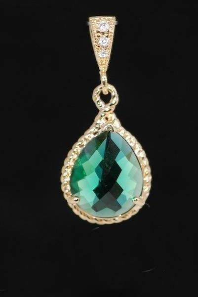 Wedding Jewelry, Gold Plated Cubic Zirconia Detailed Bail with Emerald Green Glass Quartz Pendant (P023)