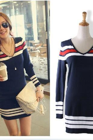 Casual Striped Long Sleeve Dress