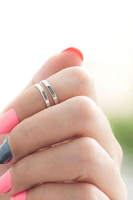Silver Minimalist Knuckle Ring, Mini 2 Lines Pinky Ring