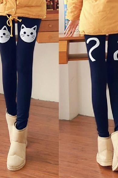 Cute cat leggings for winter