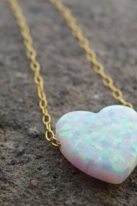 Heart necklace, Gold opal necklace, Heart jewelry, Bridesmaid necklace, Birthday gold necklace, Opal jewelry, Mothers necklace, Gift for her