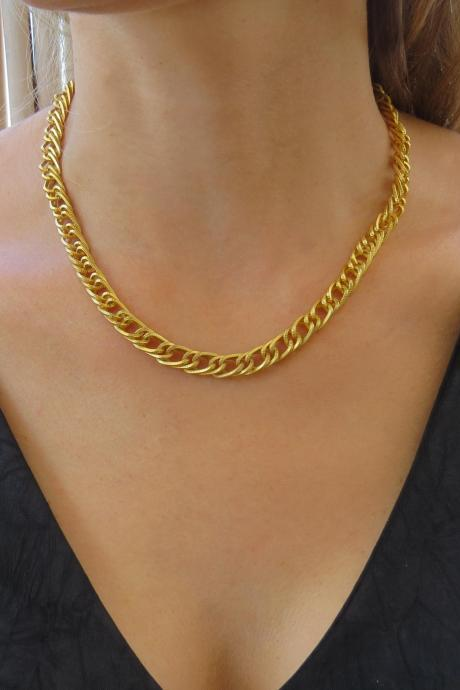 Gold chain necklace, Statement necklace, Chunky chain, Gold link necklace, Fashion jewelry, Evening necklace, Unique necklace, Gift for her