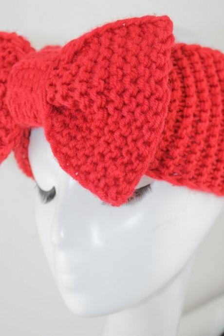 handmade red Knitted Headband Ear Warmer Grey Turband