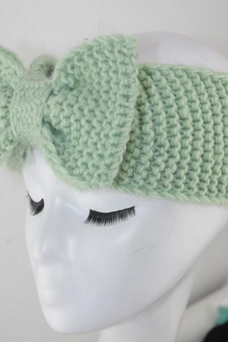 handmade mint green Knitted Bow Headband Knitted Head Band Ear Warmer with Large Oversized Knitted Bow