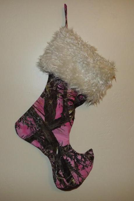 Christmas Stocking Elf style in Pink Camo
