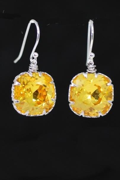 Wedding Earrings, Bridesmaid Earrings, Bridal Jewelry - Swarovski Square Light Topaz Crystal with Sterling Silver Earring Hook (E514)