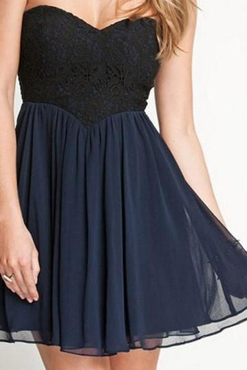 Sweet Lace Pattern Pleated Cotton Homecoming Dress - Black