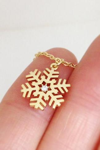Snowflake Necklace in Gold, Christmas Gift, For winter